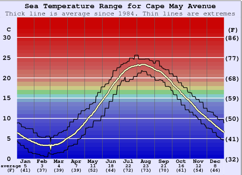 Cape May Avenue Gráfico de Temperatura del Mar