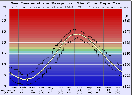The Cove Cape May Gráfico de Temperatura del Mar